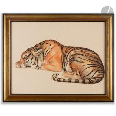 ANDRÉ MARGAT (1903-1997) Tigre au repos, 1932 Pastels de couleur. Vendu encadré....
