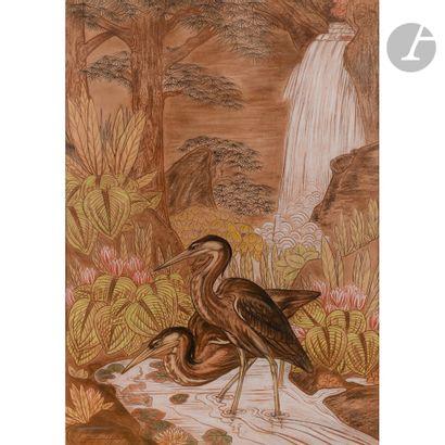 GASTON SUISSE (1896-1988) Hérons pêchant sous une cascade, 1935 Crayon gras, fusain...