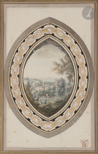 école française vers 1800 Paysage animé Aquarelle...