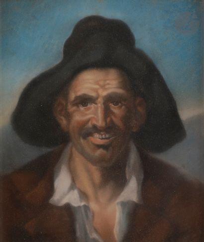 école du XIXe siècle Portrait de paysan Pastel....