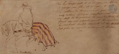 Entourage de Eugène DELACROIX Etude de cavalier...