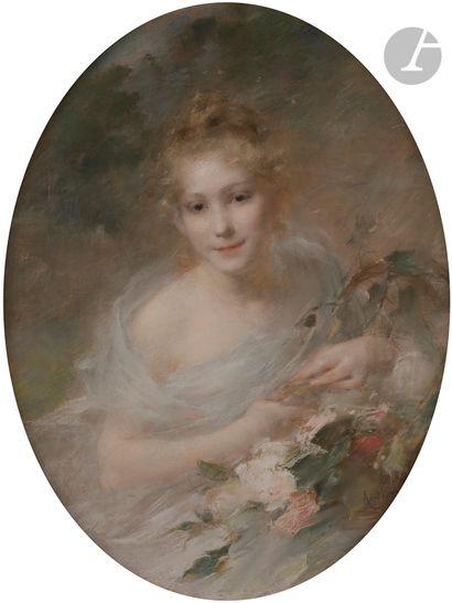Armand BERTON (1854 - 1917) Portrait de femme...