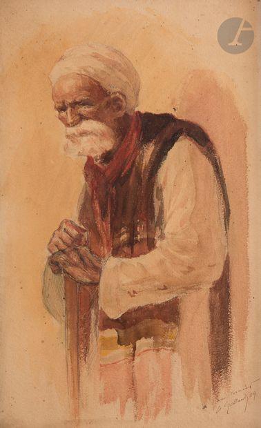A.GALLAND (?) Portrait d'oriental à la canne,...