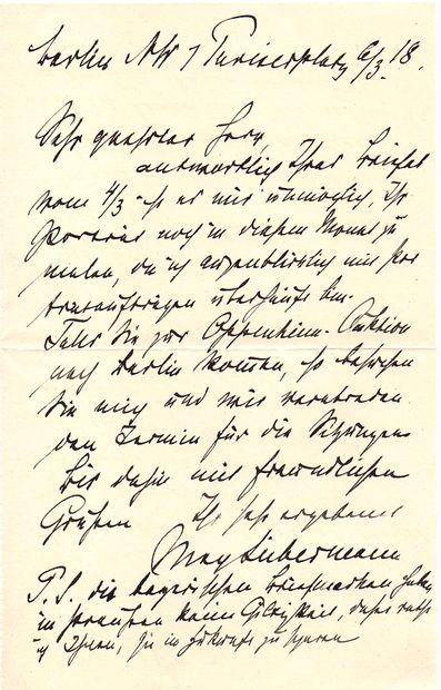 Max LIEBERMANN (1847-1935). L.A.S., Berlin 6 mars 1918; 1page in-8; en allemand....