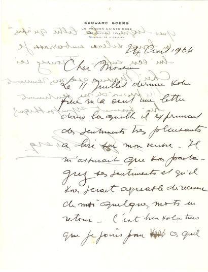 Édouard GOERG (1893-1969). L.A.S., Le Pradon Sainte-Rose, Callian (Var) 24 août...
