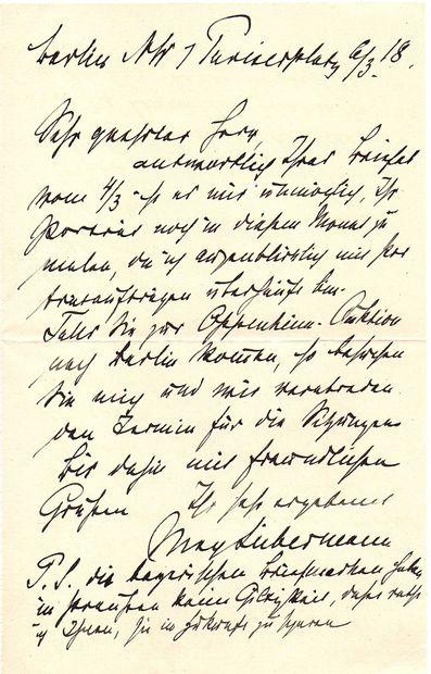Max LIEBERMANN (1847-1935). L.A.S., Berlin...
