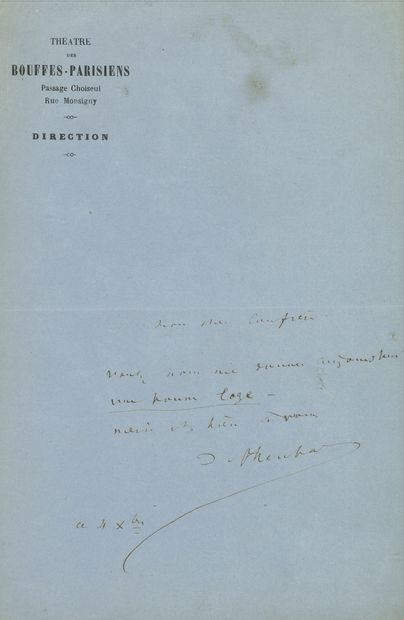 Jacques OFFENBACH (1819-1880). L.A.S., 4...