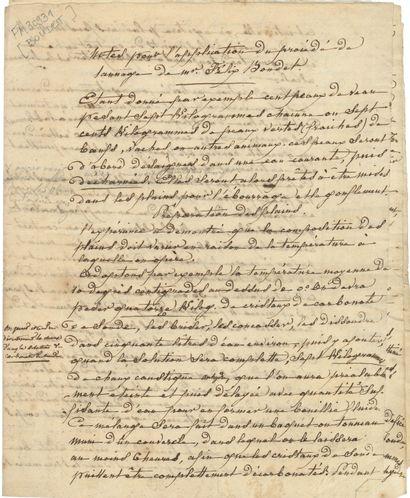 TANNAGE. Manuscrit, Notes pour l'application...