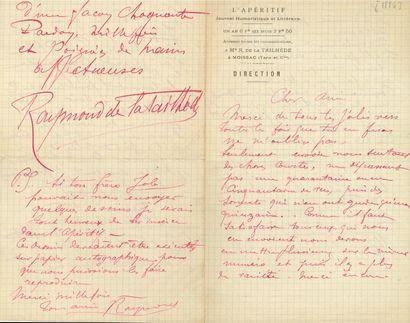 Raymond de LA TAILHÈDE (1867-1938). 5 L.A.S.,...
