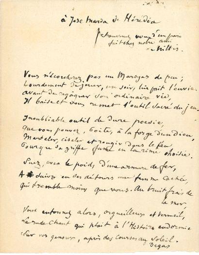 Edgar DEGAS (1834-1917). Poème autographe signé, à José Maria de Hérédia, [vers...
