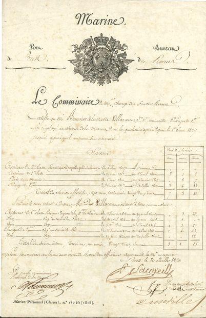 MARINE. 21 L.S. ou P.S. à Jacques-François-Marie-Achille...