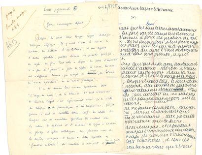 LITTÉRATURE. 5 manuscrits autographes signés...