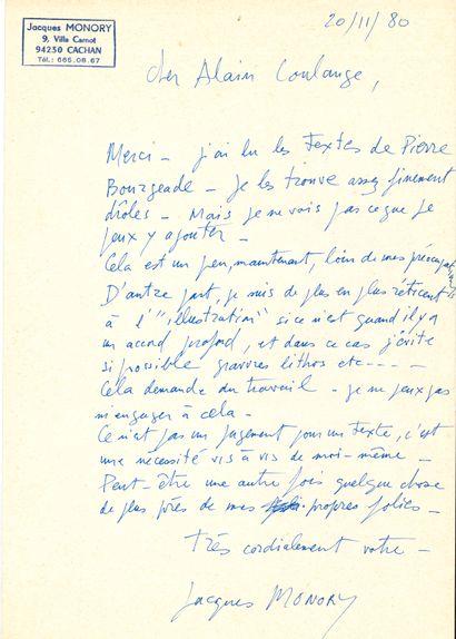 Jacques MONORY (1924-2018). L.A.S., Cachan 20 novembre 1980, au critique d'art Alain...