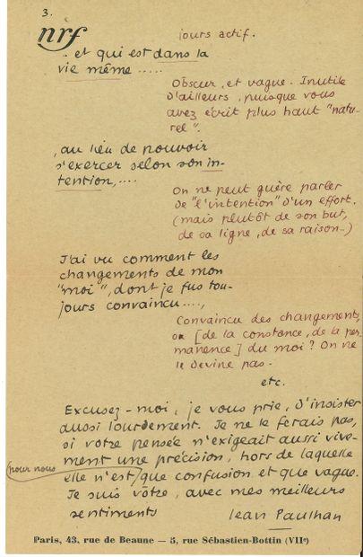 Jean PAULHAN (1884-1968). L.A.S., Paris 27...