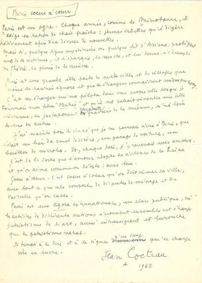 Jean COCTEAU. Manuscrit autographe signé,...