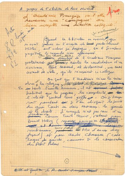 Roger NIMIER (1925-1962). Manuscrit autographe,...