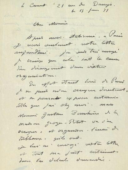 Henri LEBASQUE (1865-1937). L.A.S., Le Cannet 17 juin 1931; 1page et demie petit...