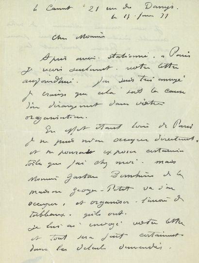 Henri LEBASQUE (1865-1937). L.A.S., Le Cannet...