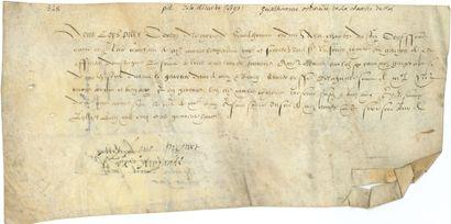 parchemins. 3 pièces sur vélin, 1548-1572;...