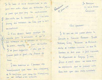 Joe BOUSQUET (1897-1950). L.A.S., Carcassonne...