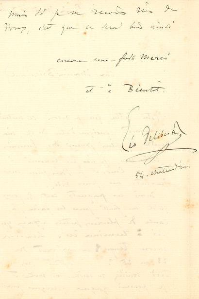 Léo DELIBES (1836-1891). L.A.S., Paris mardi 16 juillet, à Aimé-Isidore Briguiboul...