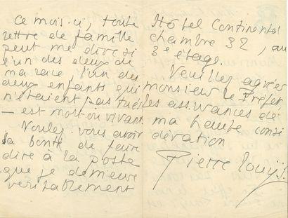 Pierre LOUŸS (1870-1925). L.A.S., Bordeaux...