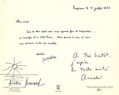 Bernard BUFFET. P.A.S. avec dessin original signé, Propriano (Corse) 15 juillet...
