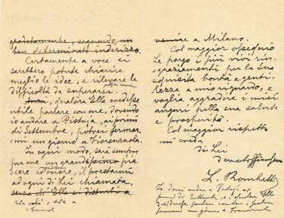 [Giuseppe VERDI (1813-1901)]. L.A.S. (minute)...