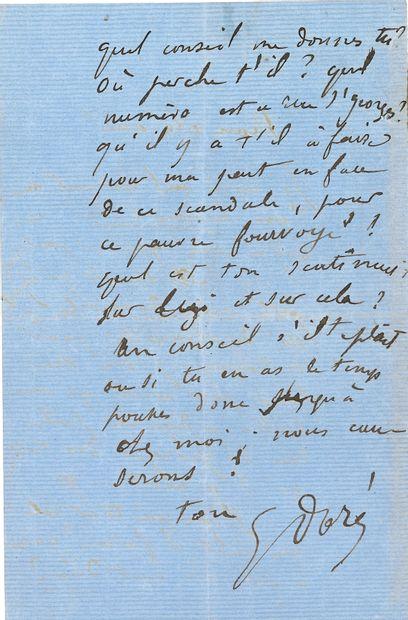 Gustave DORÉ (1832-1883). L.A.S., à un ami; 2pages in-8 (traces d'onglet sur un...