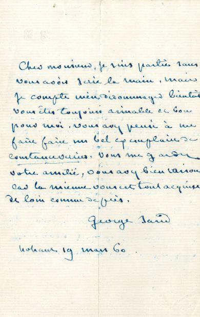 George SAND. L.A.S., Nohant 19 mars 1860,...