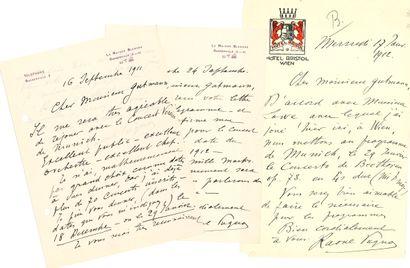 Raoul PUGNO (1852-1914). 11 L.A.S., 1906-1913,...