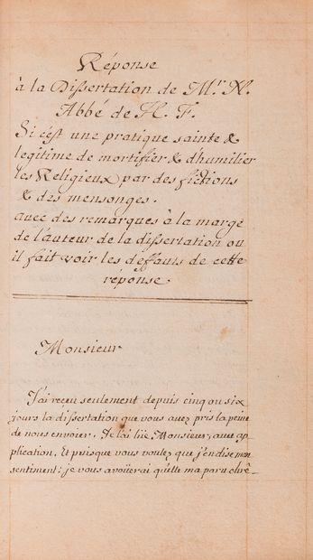 théologie. Recueil manuscrit, fin XVIIe siècle;...