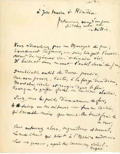 Edgar DEGAS (1834-1917). Poème autographe...