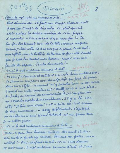 Henri JEANSON (1900-1970). Manuscrit autographe...
