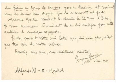Joaquin TURINA (1882-1949). L.A.S., Madrid...