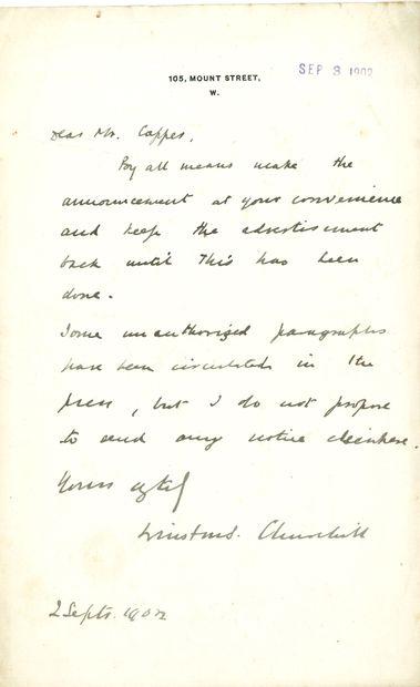 Winston CHURCHILL (1874-1965). L.A.S., 105...