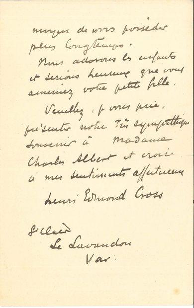 Henri-Edmond CROSS. L.A.S., Le Lavandou (Var) 23 janvier 1907, à un camarade [Charles...