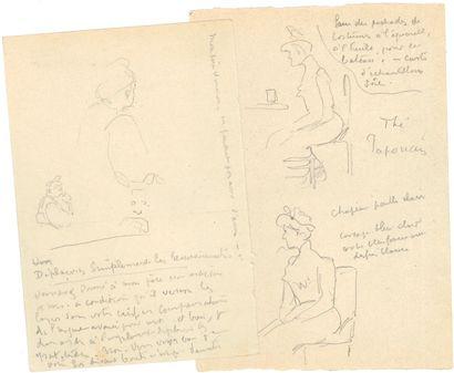 Henri-Edmond CROSS (1856-1910). 4 dessins originaux à la mine de plomb avec notes...
