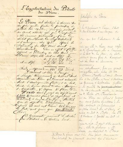 PÉROU. 2 manuscrits, fin XIXe siècle; 14pages...