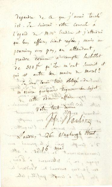 Hector BERLIOZ (1803-1869). L.A.S., Londres 16 mai [1848], à l'éditeur musical Étienne...