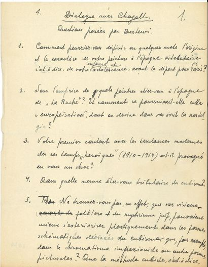 [Marc CHAGALL (1887-1985)]. Henri BERLEWI (1894-1967). Manuscrit autographe, Dialogue...