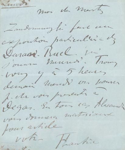 Henri de TOULOUSE-LAUTREC (1864-1901). L.A.S., Lundi, à Édouard Marty; 1page in-12,...