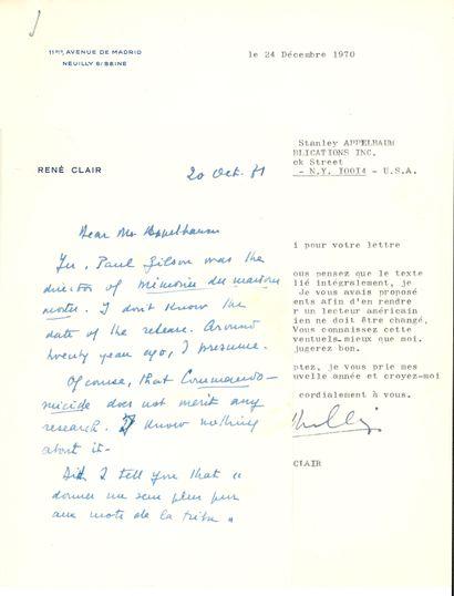 René CLAIR (1898-1981) cinéaste. 5 L.S. et une L.A.S., Neuilly-sur-Seine 1970-1971,...