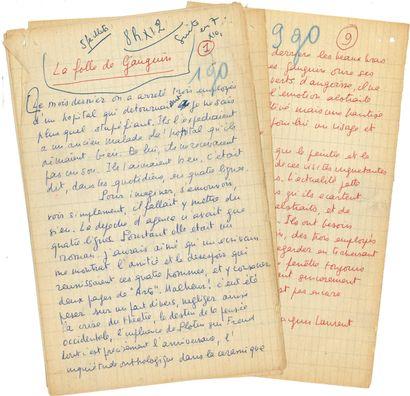 Jacques LAURENT (1919-2000). Manuscrit autographe...