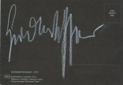 Friedensreich Hundertwasser (1928-2000). Carte postale signée; 10,5 x 15 cm. Reproduction...