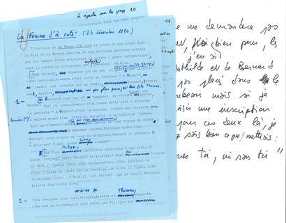 François TRUFFAUT. Tapuscrit avec additions...