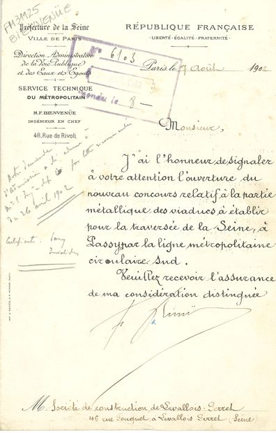 Fulgence BIENVENÜE (1852-1936) ingénieur,...