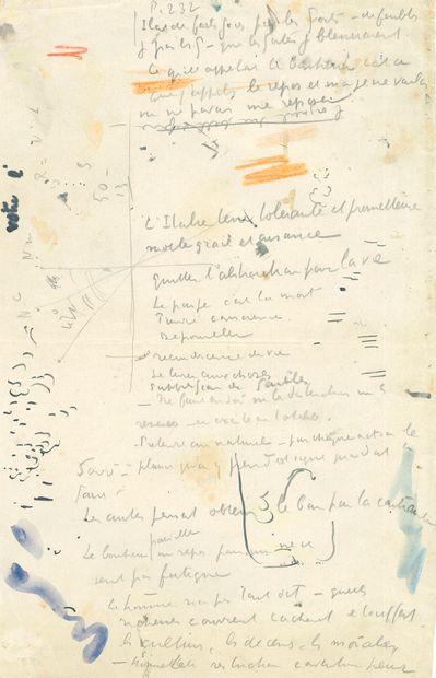 Paul SIGNAC (1863-1935). Notes autographes; 3 pages et quart in-fol. (la plupart...
