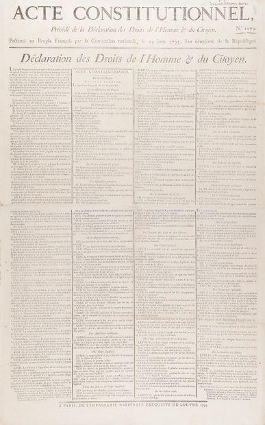 DROITS DE L'HOMME. Affiche, Acte constitutionnel...