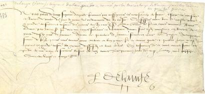 [CHARLES VIII (1470-1498)]. P.S. par Pierre...